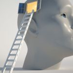 Human head with an open window and a stair - 3d render